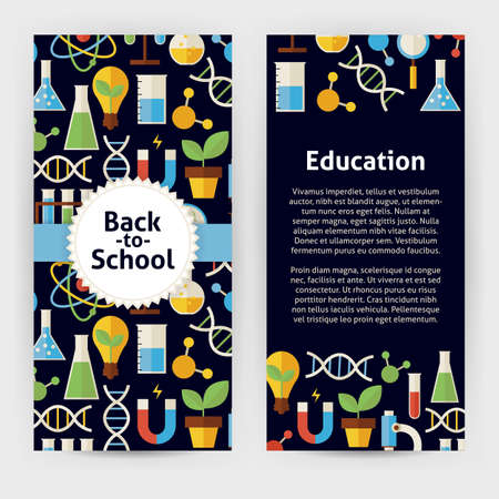brand identity: Flyer Template of Back to School Science and Education Objects and Elements. Flat Style Vector Illustration of Brand Identity for Chemistry Biology Physics and Research Promotion. Colorful Pattern for Advertising Illustration