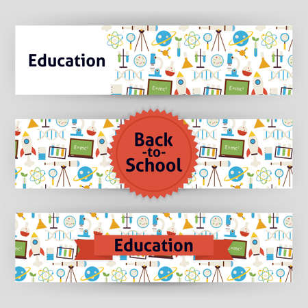 physics: Education School and Science Template Banners Set. Modern Flat Style Design Vector Illustration of Brand Identity for Knowledge Chemistry Biology Physics Astronomy and Research Promotion. Colorful Pattern for Advertising