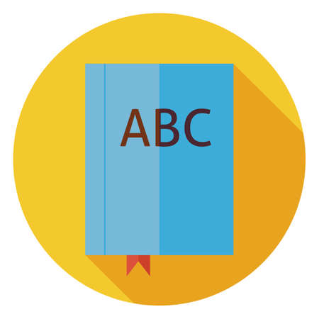 grammar: Flat Reading Book ABC with Bookmark. Back to School and Education Vector illustration. Flat Style Colorful Book Circle Icon with Long Shadow. Library and Literature. Book with Bookmark. Grammar Lesson