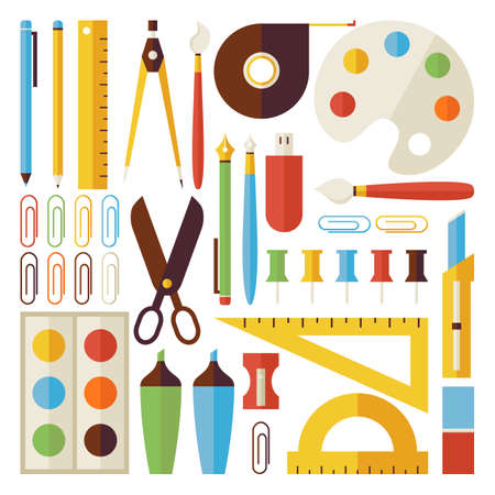 roulette layout: Back to School Objects and Office Instruments Set isolated over White. Flat Style Vector Colorful Objects. Collection of Science and Education Templates. University and College. Office Life
