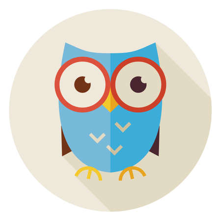 owl vector: Flat Design Knowledge Bird Owl Circle Icon with Long Shadow. Back to School and Education Vector illustration. Flat Style Clever Colorful Owl Bird Object