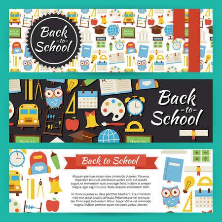Back to School en onderwijs Template Banners Set. Modern Flat Style Design Vector illustratie van de Brand Identity voor Kennis Kennis Science University en College Promotion. Kleurrijk Patroon voor reclame Stock Illustratie