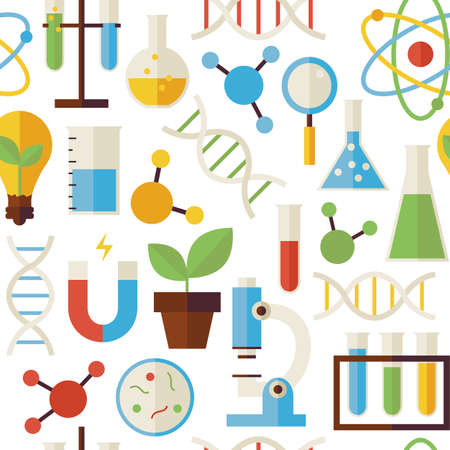 Pattern Science and Research Objects isolated over White. Flat Style Vector Seamless Texture Background. Collection of Chemistry Biology Physics and Research Templates. Back to School.
