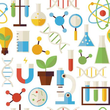Patroon van Wetenschap en Onderzoek Objecten geïsoleerd over Wit. Platte stijl Vector Naadloze Textuur Achtergrond. Collectie Scheikunde Biologie Natuurkunde en Research sjablonen. Terug naar school.