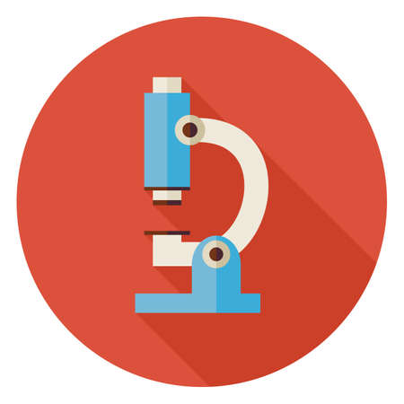 laboratory equipment: Flat Science and Medicine Laboratory Microscope Circle Icon with Long Shadow. Back to School and Education Vector illustration. Colorful Lab Technology Equipment. Biology Physics and Research Object.