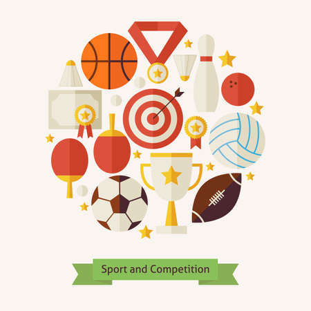 sports: Vector Flat Style Sport Recreation and Competition Objects Concept. Flat Design Vector Illustration. Collection of Sports and Activities Colorful Objects. Set of Team Games First place and Sport Items.