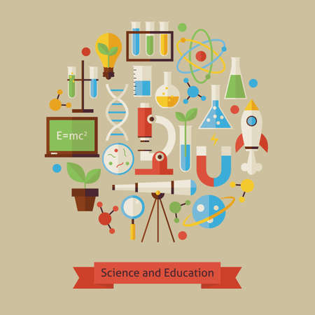 laboratory: Vector Flat Style Science and Education Objects Concept. Flat Design Vector Illustration. Collection of Chemistry Biology Astronomy Physics and Research Colorful Objects. Set of Back to School Items.