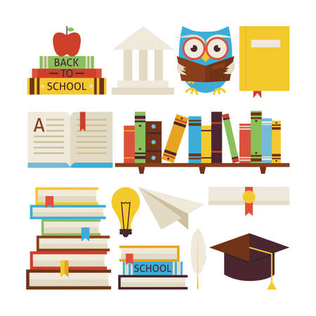 reading books: Flat Style Vector Collection of Books Education and Knowledge Objects Isolated over White. Collection of Wisdom and Education Colorful Objects. Set of University College Learning and Study Items. Library and Reading Books Illustration