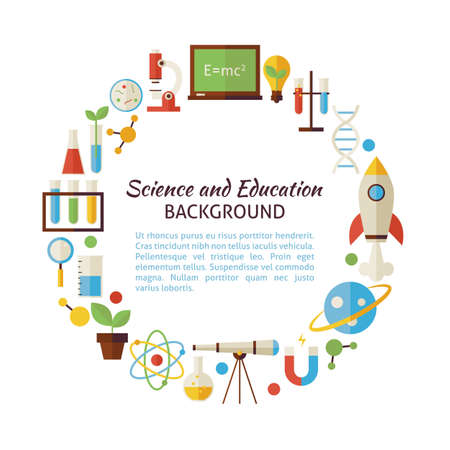 science text: Flat Style Vector Circle Collection of Science and Education Objects. Flat Design Vector Illustration. Collection of Chemistry Biology Astronomy Physics and Research Colorful Objects. Set of Back to School Items Isolated over white. Template with Design E Illustration
