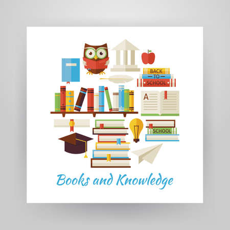 owl symbol: Flat Style Circle Vector Set of Books Education and Knowledge Objects Isolated over White. Flat Design Vector Illustration. Collection of Wisdom Library and Reading Books Colorful Objects. Set of School University and Learning Items Isolated over white. D