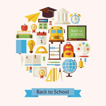 학교 및 교육에 벡터 플랫 스타일 돌아 가기 개념 개체. 플랫 디자인 벡터 일러스트 레이 션. 교육과 졸업 다채로운 개체의 컬렉션입니다. 학교 대학 및