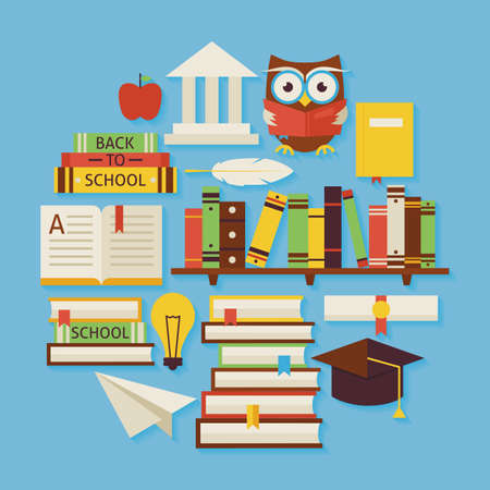 Books Education and Knowledge Vector Flat Design Circle Shaped Objects Set with Shadow. Flat Design Vector Illustration. Collection of Wisdom Library and Reading Books Colorful Objects. Set of Modern School University and Learning Items with Shadow.