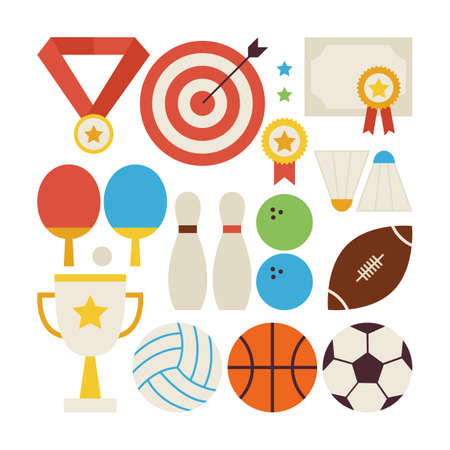fitness ball: Flat Style Vector Collection of Sport Recreation and Competition Objects Isolated over White. Set of Sports and Activities Illustrations. Team Games. First place. Collection of Sport Items