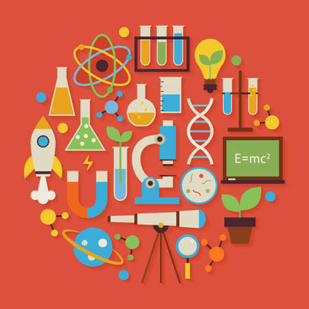 Science and Education Vector Flat Design Circle Shaped Objects Set with Shadow. Flat Design Vector Illustration. Collection of Chemistry Biology Astronomy Physics and Research Colorful Objects. Set of Modern Back to School Items with Shadow. Vettoriali