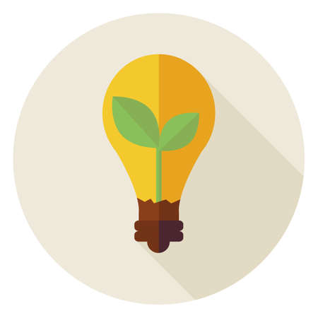 Ecology. Flat Design Natural Environment Plant with Idea Lamp Circle Icon with Long Shadow. Nature Energy and Power Vector illustration. Biology Object. Save the Nature.