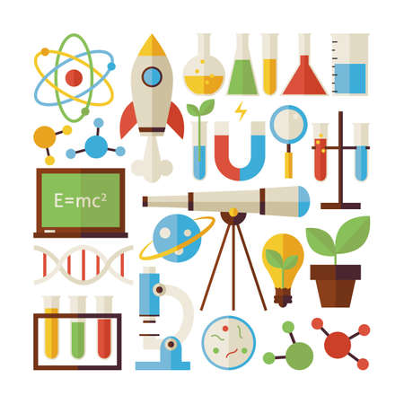 chemistry: Flat Style Vector Collection of Science and Education Objects Isolated over White. Collection of Chemistry Biology Physics and Research Colorful Objects. Set of Back to School Items. Design Elements Illustration