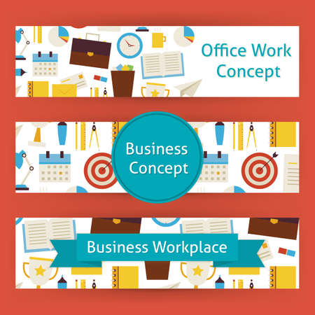 office work: Office Work Concept Template Banners Set in Modern Flat Style. Design Vector Illustration of Brand Identity for Business and Workplace Promotion. Colorful Pattern for Advertising