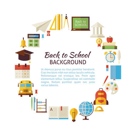 Flat Style Vector Circle of Back to School and Education Objects. Flat Design Vector Illustration. Collection of Education and Graduation Colorful Objects. Set of School University and Learning Items Isolated over white. Template with Design Elements and