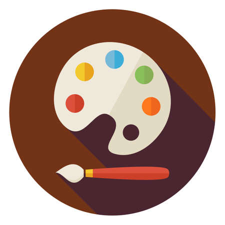 objects equipment: Flat Colorful Palette with Paintbrush Circle Icon with Long Shadow. Back to School and Education Vector illustration. Painting and Drawing Tool Object. Illustration