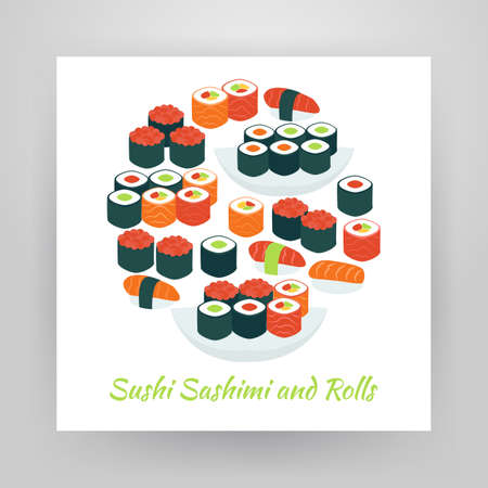 susi: Flat Style Circle Vector Set of Food Sushi Sashimi and Rolls Colorful Objects. Collection of Restaurant Gourmet Seafood Menu Items Isolated over white. Design Elements over Paper Template