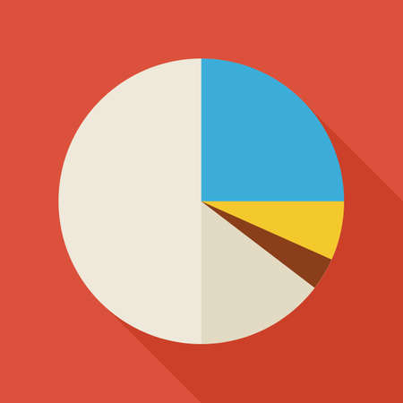 office supply: Flat Business Office Statistic Pie Graph Illustration with long Shadow. Business Infographics Analytics and Statistic Vector Illustration. Office Supply and Business Information Object.