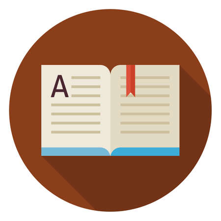 book design: Flat Knowledge Reading Open Book Circle Icon with Long Shadow. Back to School and Education. Wisdom and Library Vector illustration. Reading Book with Bookmark Object.