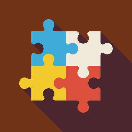 긴 그림자와 평면 퍼즐 그림입니다. 비즈니스 팀워크 개념입니다. 게임 벡터 일러스트 레이 션을 재생합니다. 성공과 창의력 개체입니다. 팀워크 및 팀