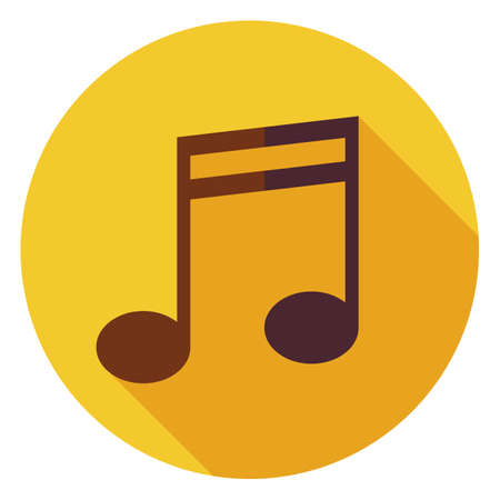 long play: Flat Music Sign Circle Icon with Long Shadow. Musical Note Vector illustration. Listening to Music Object. Play Music. Computer Music Player