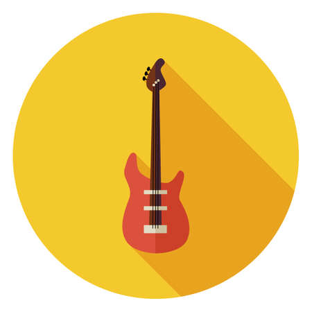 playing the guitar: Flat String Bass Guitar Circle Icon with Long Shadow. Musical Instrument Vector illustration. Playing the Guitar Object. Rock Live Music.