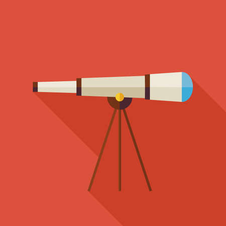 optical instrument: Flat Space Instrument Telescope Illustration with long Shadow. Technology Science Optical Measure Instrument Vector illustration. Science Astronomy Space Object. Sky Research Illustration
