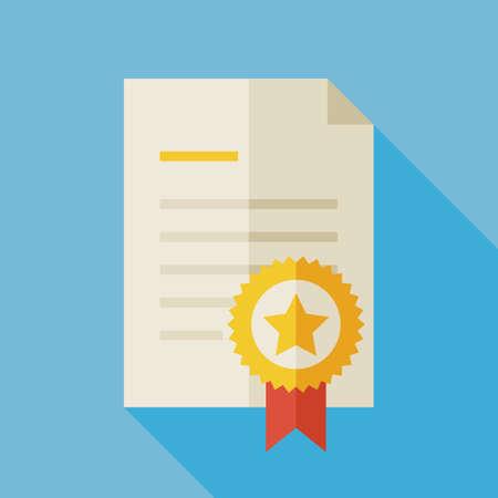 Flat Award Diploma Illustratie met lange schaduw. Paper Award Afstuderen met Gold Medal. Sport en concurrentie Winnen Vector Illustration. Eerste plaats winnen Diploma Object. Medaille met Ster en Lint Stock Illustratie