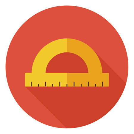 ruler: Flat Office Measure Instrument Protractor Circle Icon with Long Shadow. Back to School and Education Vector illustration. Office Supply and Drawing Tool Object. Ruler and Scale