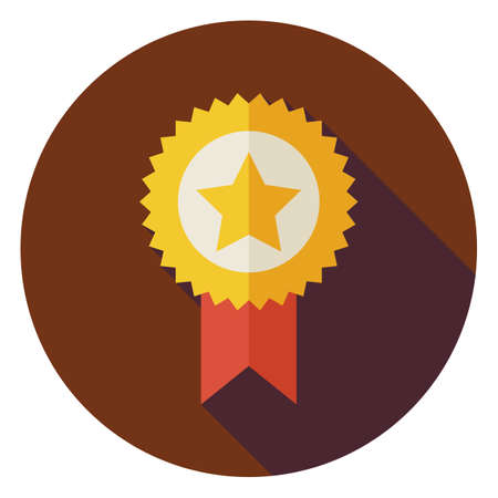 business leader: Flat Award Gold Medal Circle Icon with Long Shadow. Sport and Competition Vector Illustration. First Place Winning Object. Medal with Star and Ribbon