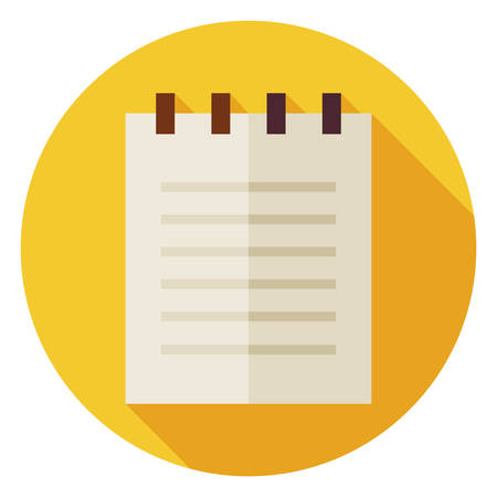 papel de notas: Icono de c�rculo de papel de oficina plana Bloc de notas con una larga sombra. Ilustraci�n vectorial de negocios. Papel del cuaderno con espiral de objetos