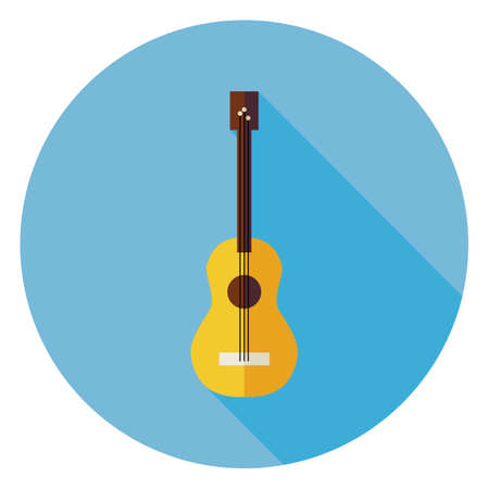 long live: Flat Acoustic String Guitar Circle Icon with Long Shadow. Musical Instrument Vector illustration. Playing the Guitar Object. Live Music. Illustration