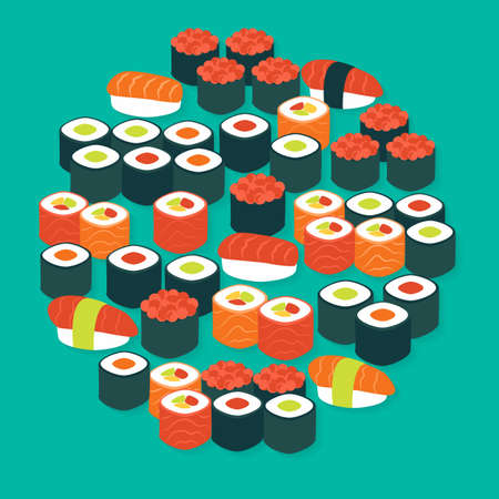 susi: Food Sushi Sashimi and Rolls Vector Flat Design Circle Shaped Objects Set with Shadow. Flat Design Vector Illustration. Collection of Gourmet Seafood Restaurant Menu Colorful Objects.
