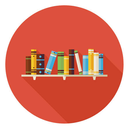 text books: Flat Education Reading Books with Bookshelf Icon with Long Shadow. Wisdom and Knowledge Vector illustration. Book Object in Interior.
