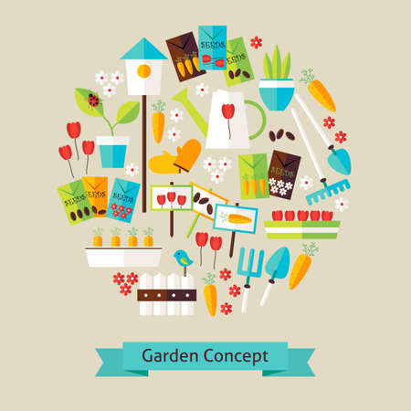 tillage: Vector Flat Style Nature Gardening and Environment Objects Concept. Flat Design Vector Illustration. Collection of Spring Season Garden Equipment Colorful Objects. Set of Plants and Flowers Items.
