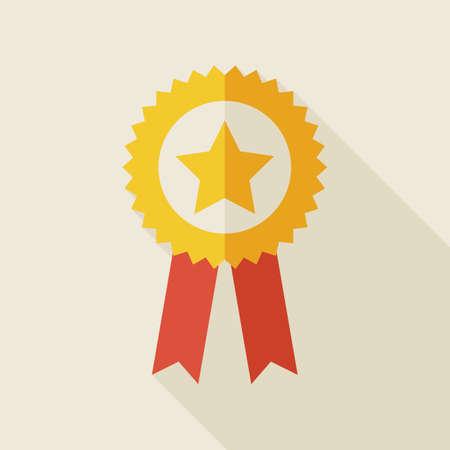 primer lugar: Premio plana Medalla de Oro Ilustración con la larga sombra. El deporte y la ilustración de la Competencia vectorial. Primer Lugar Ganar Objeto. Medalla con la estrella y la cinta