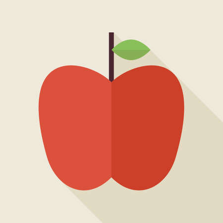 summer diet: Flat Apple Fruit Illustration with long Shadow. Back to School Knowledge Science and Education Concept. Natural Food Vector Illustration. Healthy Eco Fruit Object. Illustration