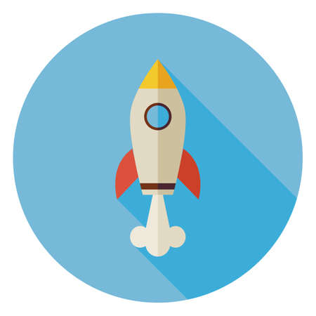 Flat Space Shuttle Rocket Circle Icon with Long Shadow. Transportation Vector illustration. Flying in the Sky Transport Object. Business Start Up Concept Vettoriali