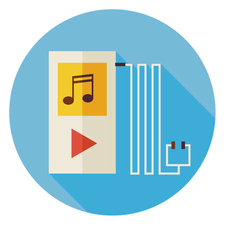 electronic music: Flat Music Player Circle Icon with Long Shadow. Musical Technology Vector illustration. Electronic Device MP3 Object. Illustration