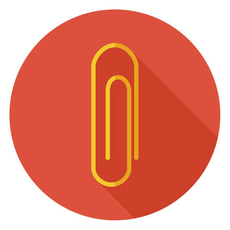 office paper: Flat Office Paper Clip Circle Icon with Long Shadow. Back to School and Education Vector illustration. Office Supply and Business Tool Object.