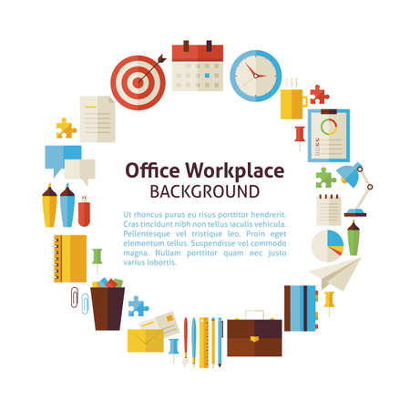 business banner: Flat Style Vector Circle Template Collection of Business Workplace and Office Colorful Objects. Set of Business Strategy Success and Workspace Items Isolated over white. Template with Design Elements and Text Illustration