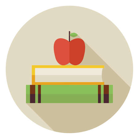 magazine stack: Flat Knowledge Book with Apple Circle Icon with Long Shadow. Back to School and Education. Wisdom and Library Vector illustration. Reading Book with Bookmark Object.