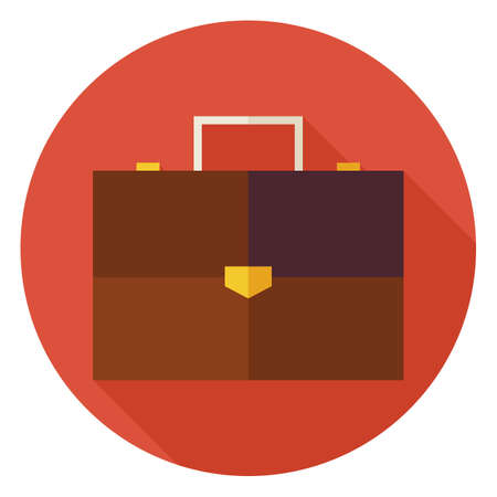 business briefcase: Flat Office Business Briefcase Circle Icon with Long Shadow. Business Bag Vector Illustration. Office Life  Suitcase Object. Illustration