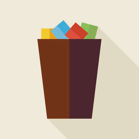 office supply: Flat Business Office Trash Bucket Illustration with long Shadow. Business Office Interior Workspace Vector illustration. Office Supply and Workplace Object.