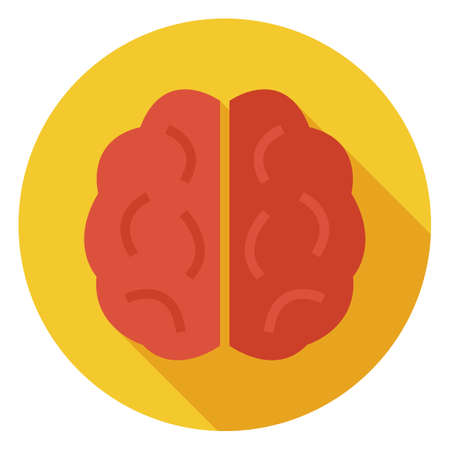 Flat Knowledge and Wisdom Brain Circle Icon with Long Shadow. Back to School Vector illustration. Medical Brain and Brainstorm Object. Learning and Studying. Clever and success idea