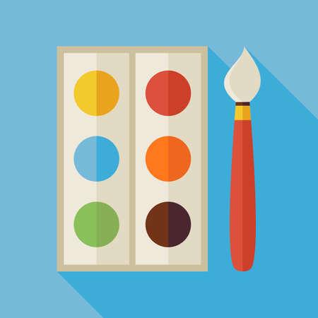 pallette: Palette plat avec des peintures colorées et Pinceau Illustration avec une longue ombre. Retour à l'école et de l'éducation Vector illustration. Peinture et dessin objet outil.