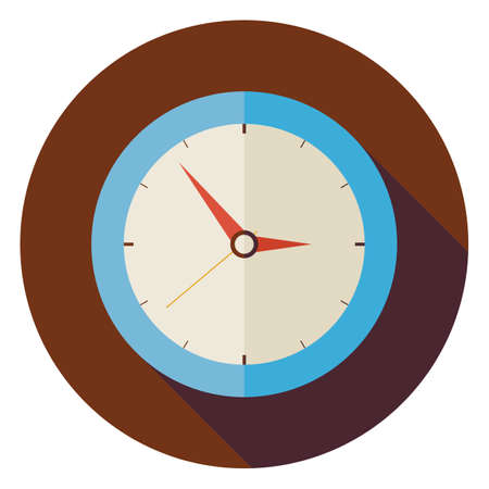 o'clock: Flat Office Workplace Interior Clock Circle Icon with Long Shadow. Business Vector Illustration. Office Life Interior Workspace Object. Time Management Illustration
